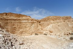 Wall of the desert canyon. (Nahal Barak, Israel&#x29 Stock Photo