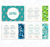 Wall or desk calendar in minimalistic floral style. Vector illustration. 2016 calendar grid. Simple template Stock Photos