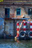 Wall desktop dock. Wall of the old dilapidated dock worker Royalty Free Stock Images