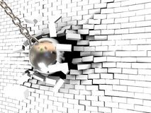 Wall destruction. Abstract 3d illustration of steel ball breaking wall Royalty Free Stock Photography