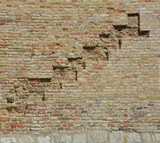 Wall Detail in Pordenone. A brick wall in an old historic building in the north east Italian town of Pordenone in Friuli Venezia Giulia Royalty Free Stock Images
