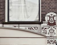 Wall details. Bricks street home road town city tourism face decoration window Stock Photo