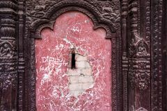 Wall with details of traditional Nepalese temple Royalty Free Stock Photography
