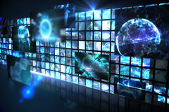 Wall of digital screens in blue Royalty Free Stock Images