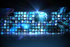 Wall of digital screens in blue Stock Image