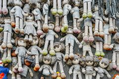 Wall of Dolls protest in Navigli district protesting against female physical and sexual violence, throughout the world stock photos