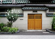 Wall and door in Japanese style. Royalty Free Stock Images