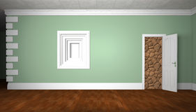 Wall with a door and a niche. Stock Photos