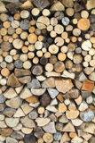 Wall from dry firewood Stock Images