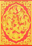 Wall of dual dragon. The wood carve in dual dragon style the wall of joss house Royalty Free Stock Photos