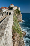 Wall of Dubrovnik. Panorama of old town of Dubrovnik, the pearl of Adriatic, Croatia Stock Image