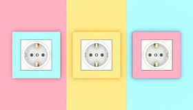 Wall electrical sockets stock photography