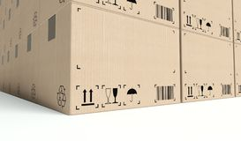 Wall of empty cardboard boxes Royalty Free Stock Images