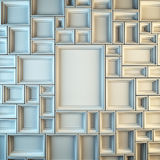 Wall of empty white frames. Royalty Free Stock Photos