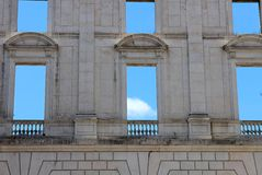 Wall with empty windows in Ajuda National Palace,  Stock Photo