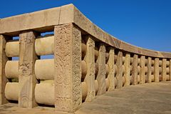 Wall encircles the  Great stupa. Stock Photography