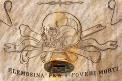 Wall Engraving of Skull and Hospital Charity Box. A painting of a skull with a request for charity, on the wall of a historic hospital in Valletta, Malta Stock Photography
