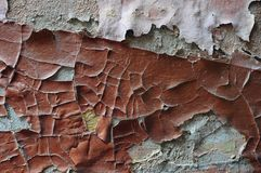 The wall is eroded by water and mold: distorted fractured paint disappears from the surface, the texture breaks down. Wall is eroded by water and mold Royalty Free Stock Image