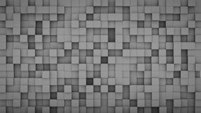 Wall of extruded grey cubes 3D render. Wall of extruded grey cubes mosaic. Computer generated abstract background. Geometric 3D render illustration Royalty Free Stock Photo