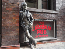 Wall of Fame in Liverpool. LIVERPOOL, UK - CIRCA JUNE 2016: The Wall of Fame at the Cavern Pub opposite the Cavern Club where The Beatles played, with a statue Royalty Free Stock Photos