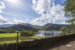 Wall by farmland over Ullswater Royalty Free Stock Image