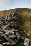 Wall and fence. Tumble down stone wall with rusty barbed wire and a new fence adjacent with posts running up a hillside Royalty Free Stock Photos