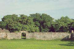 Wall in a field in Asia. An old brick wall in a field of grass, set against some trees and an evening sky. Inside the old imperial city of Hue, Vietnam Royalty Free Stock Image