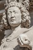 Wall figure of queen at main façade of cathedral in Magdeburg,. Germany, Autumn, closeup, details royalty free stock photos