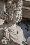 Wall figure of queen at main façade of cathedral in Magdeburg,. Germany, Autumn, closeup, details stock images