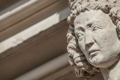 Wall figure of queen at main façade of cathedral in Magdeburg,. Germany, Autumn, closeup, details stock photography
