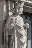 Wall figure of queen at main façade of cathedral in Magdeburg,. Germany, Autumn, closeup, details stock photos