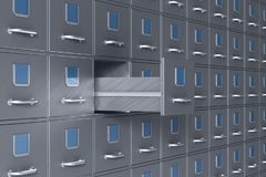 Wall from filing cabinet. 3D illustration stock photos