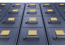 Wall of filing cabinets. A look at tall blue filing cabintes from the ground up Stock Photography
