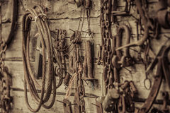 Wall Filled with Old Tools Hanging on the wall Royalty Free Stock Photography