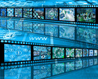Wall of film. Many abstract images on the theme of computers, Internet and high technology Stock Image