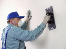 Wall finishing work Stock Photos