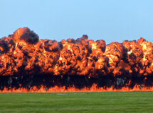 Wall of Fire. Explosion creating a wall of fire Stock Images