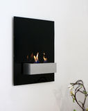 Wall Fire. A futuristic designed open fire place hanging on the wall Stock Photos