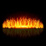 Wall of fire on black. Wall of fire with weak reflection on black background Royalty Free Stock Photography