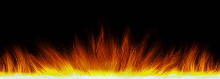 Wall of real fire flames  on black background Stock Images
