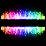 Wall of Fire. Two Walls of Abstract Rainbow Fire in Mirror Reflection with Blank Space Between Them. Illustration on Black Background Stock Photo