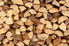 Wall firewood , Background of dry chopped firewood logs in a pile. Stack of logs felled and left to dry. Royalty Free Stock Photos
