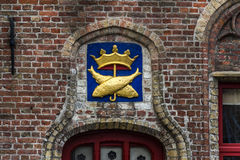 Wall fish decor in Brugge, Flanders, Belgium Royalty Free Stock Photography