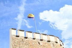 Wall with flag of Pisek Stock Photography