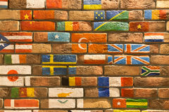 Wall with flags Royalty Free Stock Photo