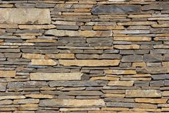 Wall from flat stones. Stacked on top of each other Royalty Free Stock Photos