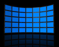 Wall of flat tv screens Stock Photos