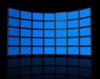 Wall of flat tv screens Stock Photos
