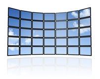 Wall of flat tv screens Royalty Free Stock Image