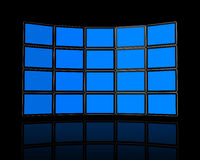 Wall of flat tv screens Royalty Free Stock Images